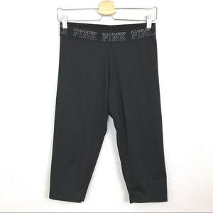 Pink Ultimate Crop Leggings Black Sz Medium